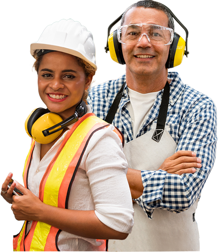 Safety woman and man